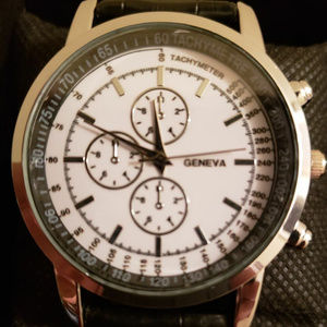 Other - GENEVA SILVER TONE CASUAL DRESS LEATHER WATCH NEW